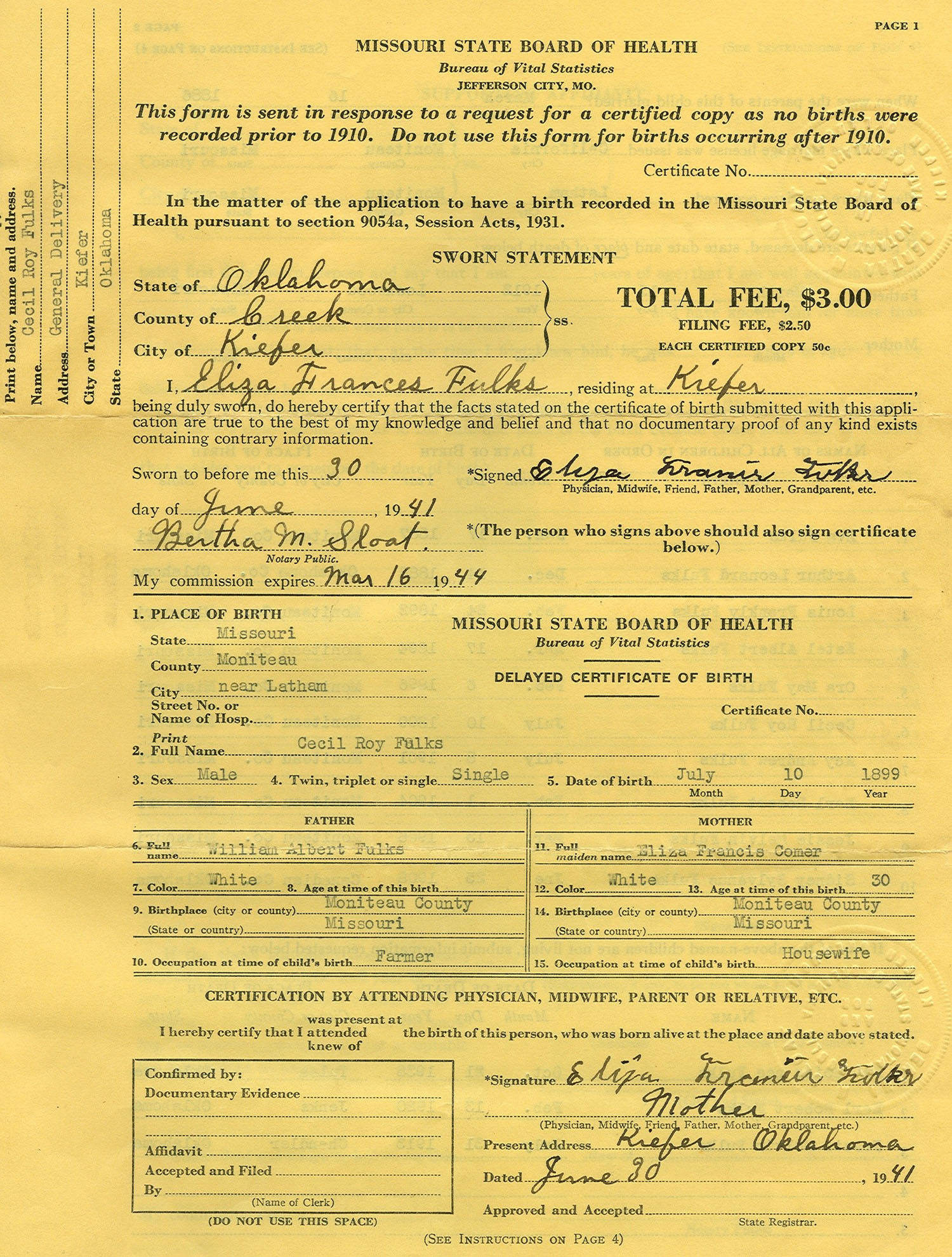 Rdfulks genealogy for cecil roy fulks page2 type birth records certificates aiddatafo Choice Image