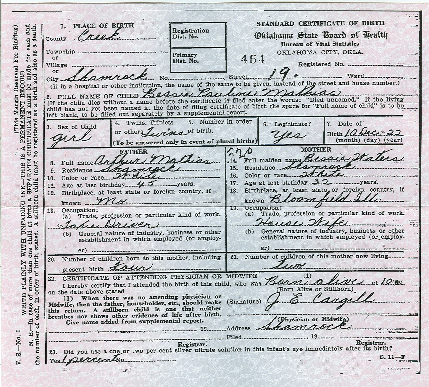 Rdfulks genealogy for bessie pauline mathias type birth records certificates aiddatafo Choice Image