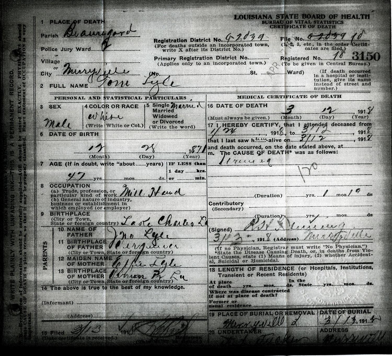 Rdfulks Genealogy For Thomas Lyle