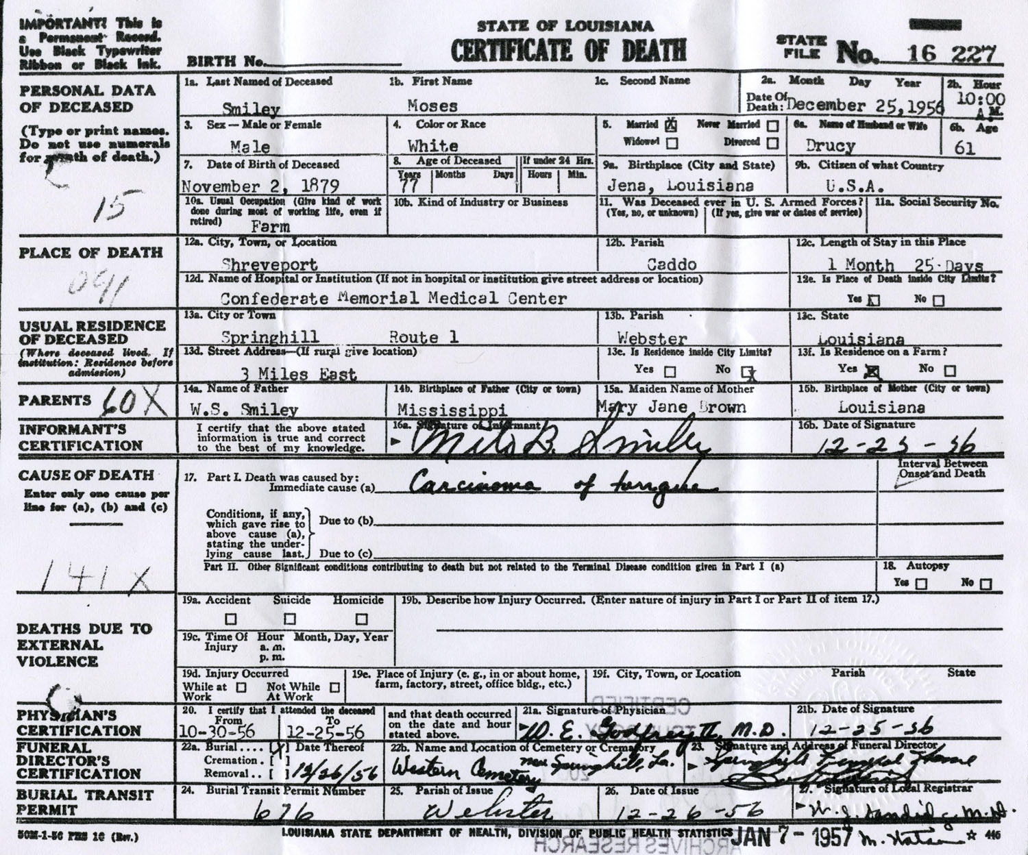 Rdfulks genealogy for moses manuel smiley type death records certificates xflitez Image collections