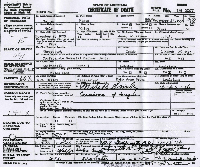 Louisiana Death Certificate - Best Design Sertificate 2018