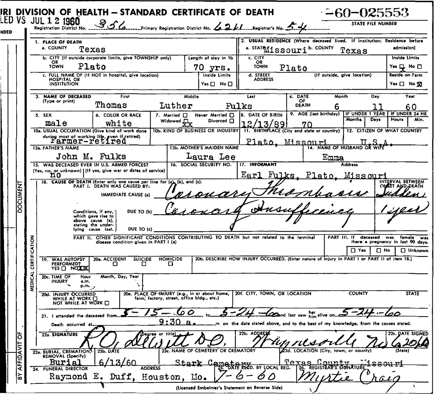 Rdfulks genealogy for thomas luther fulks type death records certificates 1betcityfo Image collections